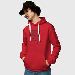 Толстовка-худи хлопковая мужская Архитектор цвета красный — фото 2