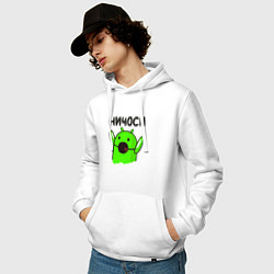 Толстовка-худи хлопковая мужская Ничоси андроид цвета белый — фото 2