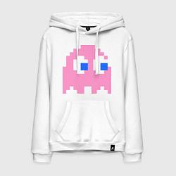Толстовка-худи хлопковая мужская Pac-Man: Pinky цвета белый — фото 1