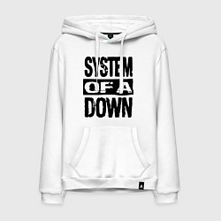 Толстовка-худи хлопковая мужская System Of A Down цвета белый — фото 1