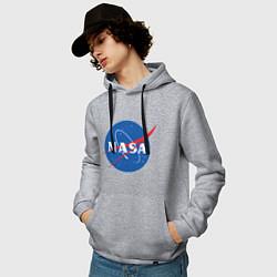 Толстовка-худи хлопковая мужская NASA: Logo цвета меланж — фото 2