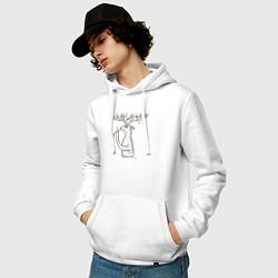 Толстовка-худи хлопковая мужская 0019 цвета белый — фото 2