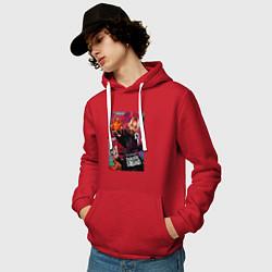 Толстовка-худи хлопковая мужская Deadshot Squad цвета красный — фото 2