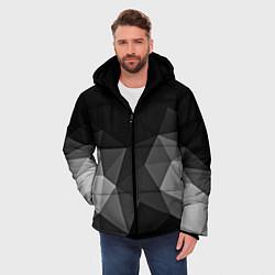 Куртка зимняя мужская Abstract gray цвета 3D-черный — фото 2