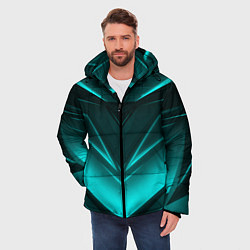 Куртка зимняя мужская NEON GEOMETRY STRIPES цвета 3D-черный — фото 2