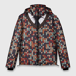 Куртка зимняя мужская Вязанный узор с галстуком цвета 3D-черный — фото 1