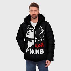 Куртка зимняя мужская Цой жив цвета 3D-черный — фото 2