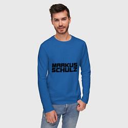 Лонгслив хлопковый мужской Markus Schulz цвета синий — фото 2