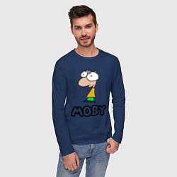 Лонгслив хлопковый мужской Moby цвета тёмно-синий — фото 2