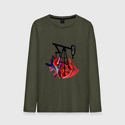 Лонгслив хлопковый мужской Сердце нефтяника цвета меланж-хаки — фото 1
