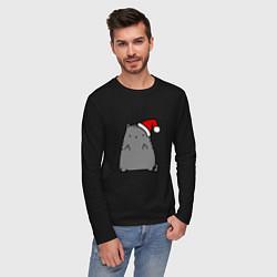 Лонгслив хлопковый мужской New Year Kitty FCK цвета черный — фото 2