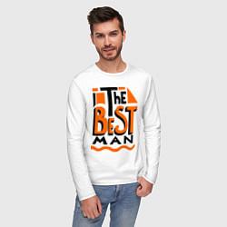Лонгслив хлопковый мужской The best man цвета белый — фото 2