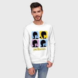 Лонгслив хлопковый мужской The Beatles: pop-art цвета белый — фото 2
