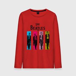 Лонгслив хлопковый мужской Walking Beatles цвета красный — фото 1