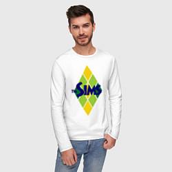 Лонгслив хлопковый мужской The Sims цвета белый — фото 2