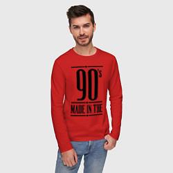 Лонгслив хлопковый мужской Made in the 90s цвета красный — фото 2