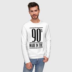 Лонгслив хлопковый мужской Made in the 90s цвета белый — фото 2