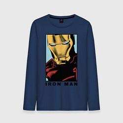 Лонгслив хлопковый мужской Iron Man цвета тёмно-синий — фото 1
