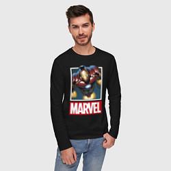 Лонгслив хлопковый мужской Iron Man: Mark III цвета черный — фото 2