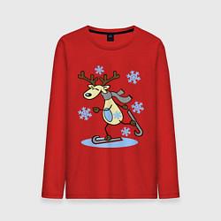 Лонгслив хлопковый мужской Олень на лыжах цвета красный — фото 1