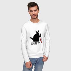 Лонгслив хлопковый мужской What cat цвета белый — фото 2