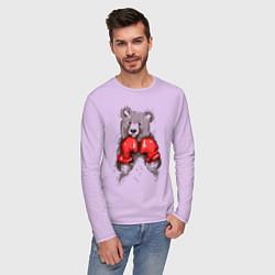 Лонгслив хлопковый мужской Bear Boxing цвета лаванда — фото 2