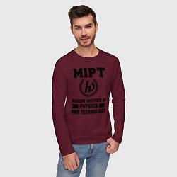 Лонгслив хлопковый мужской MIPT Institute цвета меланж-бордовый — фото 2
