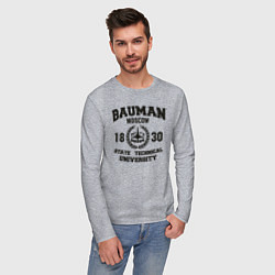 Лонгслив хлопковый мужской BAUMAN University цвета меланж — фото 2
