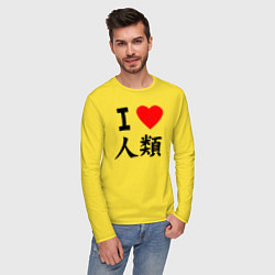 Лонгслив хлопковый мужской Я люблю человечество! цвета желтый — фото 2
