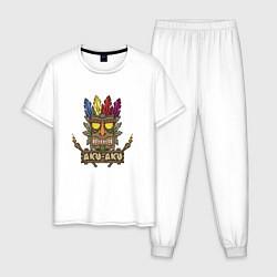Пижама хлопковая мужская Aku-Aku (Crash Bandicoot) цвета белый — фото 1