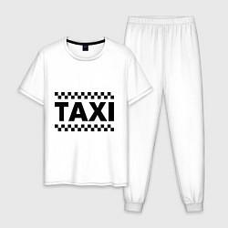 Пижама хлопковая мужская Taxi цвета белый — фото 1