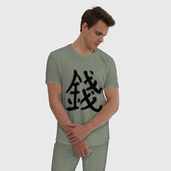 Пижама хлопковая мужская Деньги цвета авокадо — фото 2