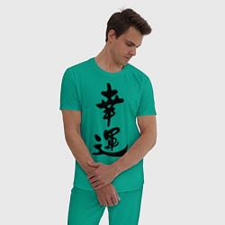 Пижама хлопковая мужская Удача цвета зеленый — фото 2
