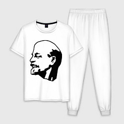 Пижама хлопковая мужская Ленин: скульптура цвета белый — фото 1