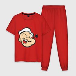Пижама хлопковая мужская Popeye Face цвета красный — фото 1