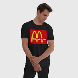 Пижама хлопковая мужская Will work for food цвета черный — фото 2