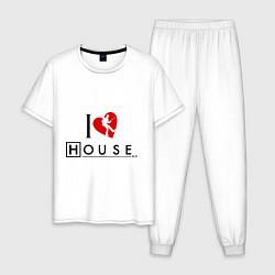 Пижама хлопковая мужская I love House MD цвета белый — фото 1