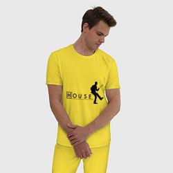 Пижама хлопковая мужская House MD цвета желтый — фото 2