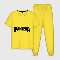 Пижама хлопковая мужская Pantera цвета желтый — фото 1