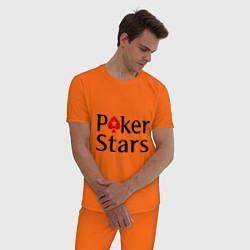 Пижама хлопковая мужская Poker Stars цвета оранжевый — фото 2
