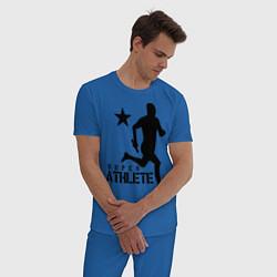 Пижама хлопковая мужская Лёгкая атлетика цвета синий — фото 2
