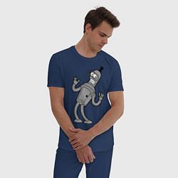 Пижама хлопковая мужская Bender Error цвета тёмно-синий — фото 2