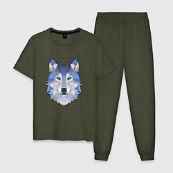 Пижама хлопковая мужская Полигональный волк цвета меланж-хаки — фото 1