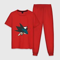 Пижама хлопковая мужская San Jose Sharks цвета красный — фото 1
