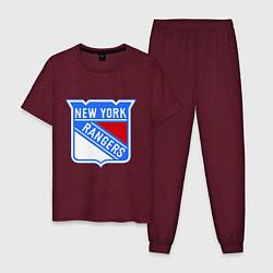 Пижама хлопковая мужская New York Rangers цвета меланж-бордовый — фото 1