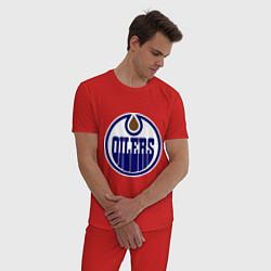 Пижама хлопковая мужская Edmonton Oilers цвета красный — фото 2