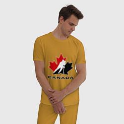 Пижама хлопковая мужская Canada цвета горчичный — фото 2