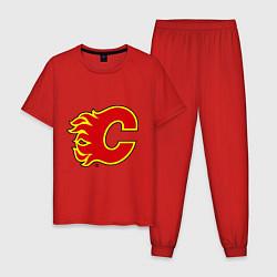 Пижама хлопковая мужская Calgary Flames цвета красный — фото 1