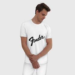 Пижама хлопковая мужская Fender цвета белый — фото 2