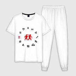 Пижама хлопковая мужская Близнецы цвета белый — фото 1